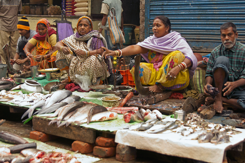People selling fish at a street market in the Chowringhee area of Kolkata, West Bengal, India